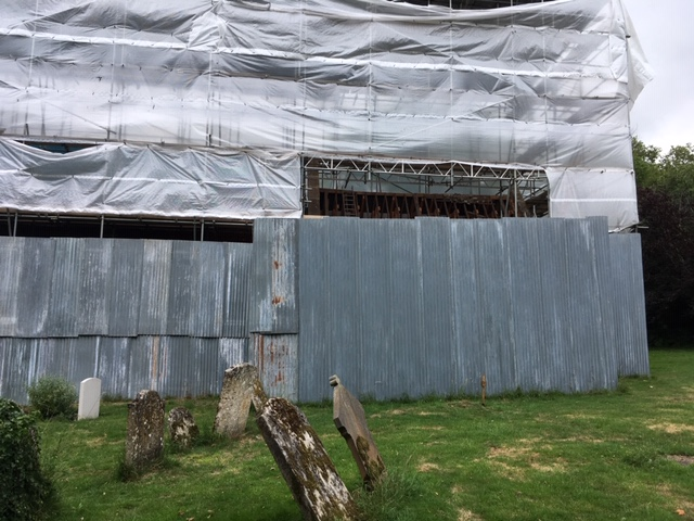 Little Gidding: the church encased in polythene: July 2020
