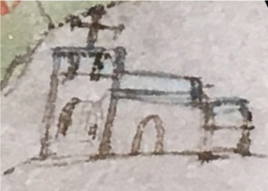 Image of Little Gidding Church from the 1597 map