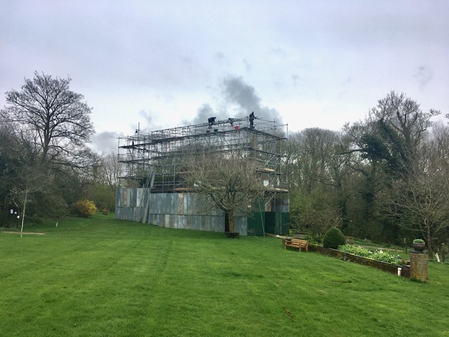 Little Gidding Church: Putting up the scaffolding: March 2020