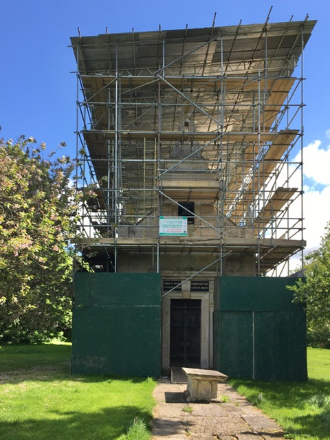 Little Gidding Church: scaffolding and roof cover: March 2020
